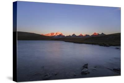Sunset on Rossett Lake at an Altitude of 2709 Meters. Gran Paradiso National Park-Roberto Moiola-Stretched Canvas Print