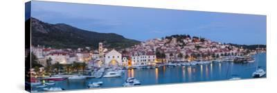 Elevated View over the Picturesque Harbour Town of Hvar, Hvar, Dalmatia, Croatia-Doug Pearson-Stretched Canvas Print
