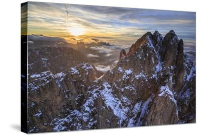 Aerial Shot of Sassolungo at Sunset-Roberto Moiola-Stretched Canvas Print