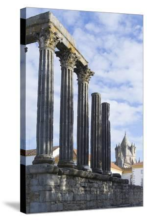The Roman Temple of Diana and the Tower of Evora Cathedral-Alex Robinson-Stretched Canvas Print