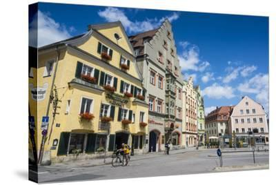 Old Trader Houses on Arnulfsplatz, a Square in Regensburg, Bavaria, Germany-Michael Runkel-Stretched Canvas Print
