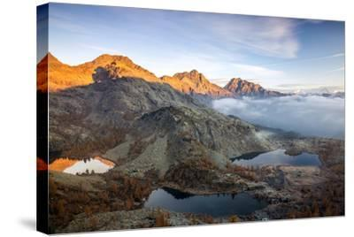Autumn Landscape at the Natural Park of Mont Avic, Lac Blanc, Aosta Valley, Graian Alps, Italy-Roberto Moiola-Stretched Canvas Print