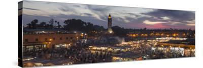 Panoramic View of (Jemaa) Djemaa El Fna Square and Koutoubia Mosque-Stephen Studd-Stretched Canvas Print