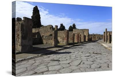Long Cobbled Street, Roman Ruins of Pompeii, UNESCO World Heritage Site, Campania, Italy, Europe-Eleanor Scriven-Stretched Canvas Print