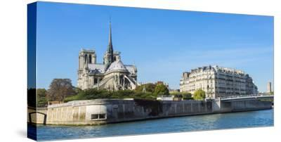 Notre-Dame Cathedral and Ile De La Cite, Paris, France, Europe-G & M Therin-Weise-Stretched Canvas Print