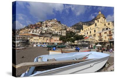 Small Boats on Beach, Positano, Costiera Amalfitana (Amalfi Coast), Campania, Italy-Eleanor Scriven-Stretched Canvas Print