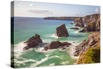 Bedruthan Steps, Newquay, Cornwall, England, United Kingdom-Billy Stock-Stretched Canvas Print