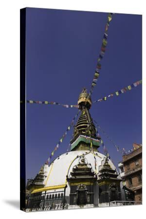 Shree Gha Buddhist Stupa, Thamel, Kathmandu, Nepal, Asia-John Woodworth-Stretched Canvas Print