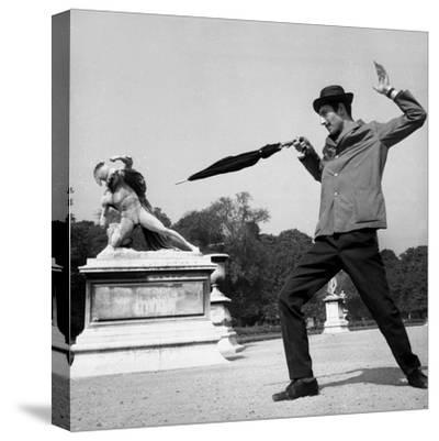 Actor Jose Pantieri Clowning around in Tuileries Gardens, Paris, 1962--Stretched Canvas Print
