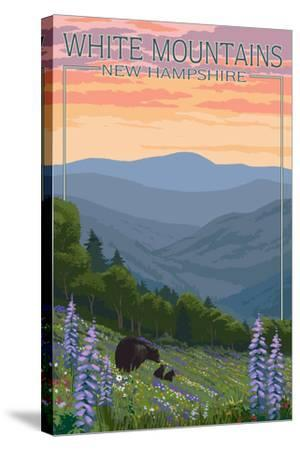 New Hampshire - Bears and Spring Flowers-Lantern Press-Stretched Canvas Print