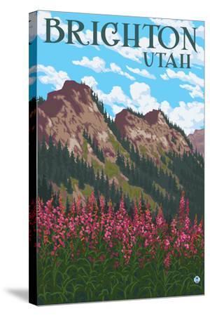 Brighton, Utah - Flowers and Mountain Range-Lantern Press-Stretched Canvas Print
