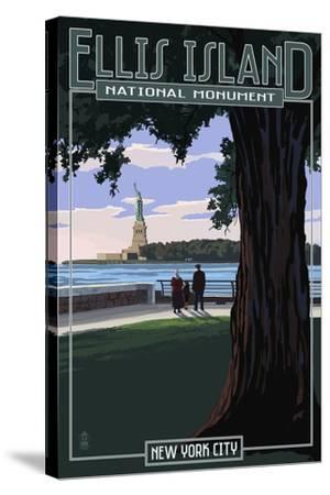 Ellis Island National Monument - New York City - Statue of Liberty-Lantern Press-Stretched Canvas Print