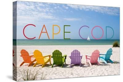 Cape Cod, Massachusetts - Colorful Beach Chairs-Lantern Press-Stretched Canvas Print