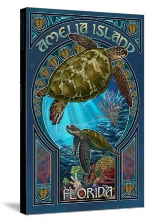 Amelia Island, Florida - Sea Turtle Art Nouveau-Lantern Press-Stretched Canvas Print