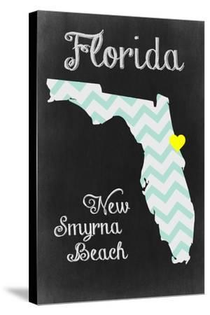 New Smyrna Beach, Florida - Chalkboard State Heart-Lantern Press-Stretched Canvas Print