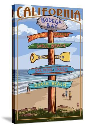 Bodega Bay, California - Destination Signpost-Lantern Press-Stretched Canvas Print