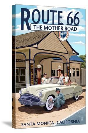 Santa Monica, California - Route 66 - Service Station-Lantern Press-Stretched Canvas Print