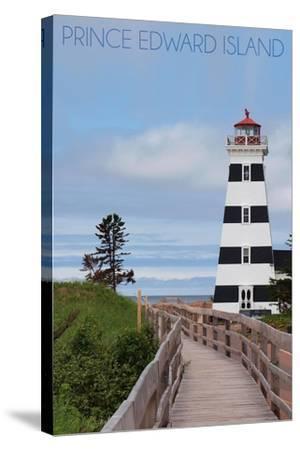 Prince Edward Island - Cedar Dunes Lighthouse-Lantern Press-Stretched Canvas Print