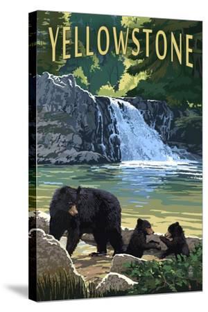 Bear Family - Yellowstone-Lantern Press-Stretched Canvas Print