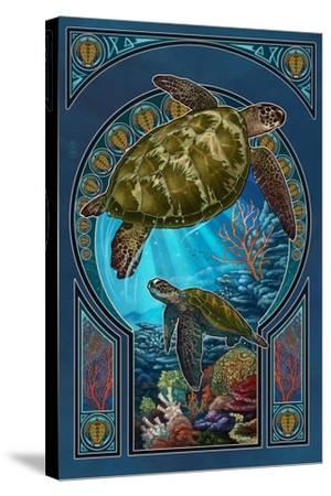 Sea Turtle - Art Nouveau-Lantern Press-Stretched Canvas Print