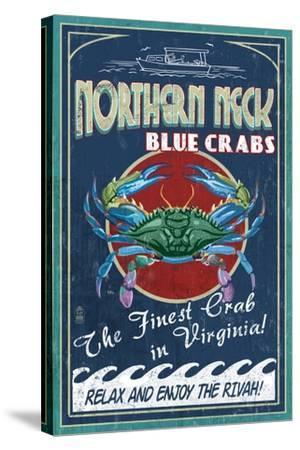Northern Neck, Virginia - Blue Crab Vintage Sign-Lantern Press-Stretched Canvas Print