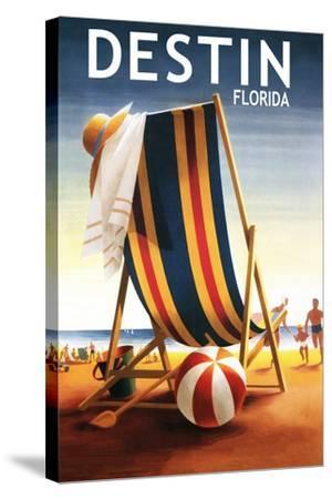 Destin, Florida - Beach Chair and Ball-Lantern Press-Stretched Canvas Print