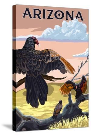 Arizona Vultures-Lantern Press-Stretched Canvas Print