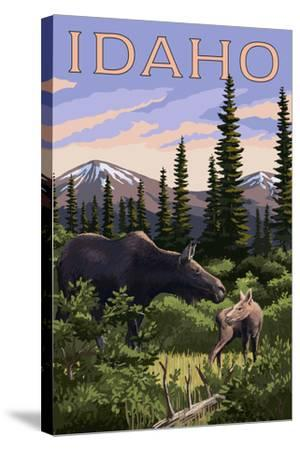 Idaho - Moose and Baby Calf-Lantern Press-Stretched Canvas Print