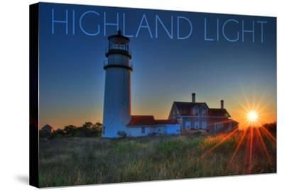 Massachusetts - Highland Light at Sunset-Lantern Press-Stretched Canvas Print