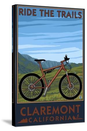 Claremont, California - Mountain Bike Scene-Lantern Press-Stretched Canvas Print