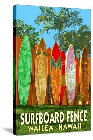 Wailea, Hawaii - Surfboard Fence-Lantern Press-Stretched Canvas Print