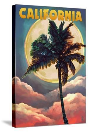 California - Palm and Moon-Lantern Press-Stretched Canvas Print