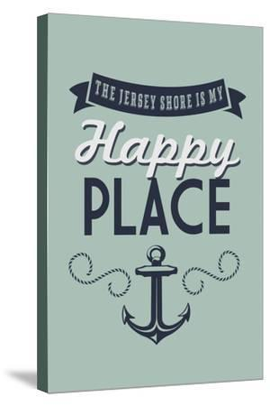 The Jersey Shore Is My Happy Place-Lantern Press-Stretched Canvas Print