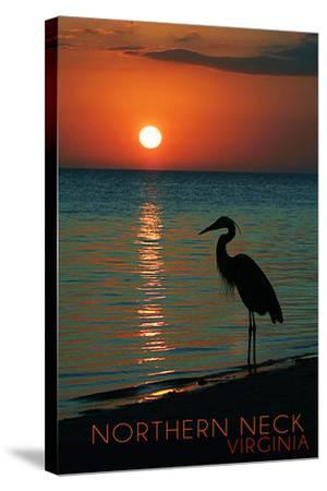 Northern Neck, Virginia - Heron and Sunset-Lantern Press-Stretched Canvas Print