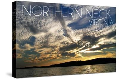 Northern Neck, Virginia - Sunset and River-Lantern Press-Stretched Canvas Print