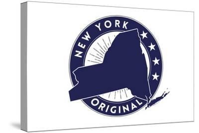 New York State Blue Stamp-Lantern Press-Stretched Canvas Print