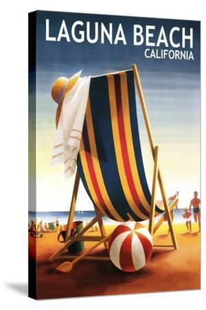 Laguna Beach, California - Beach Chair and Ball-Lantern Press-Stretched Canvas Print