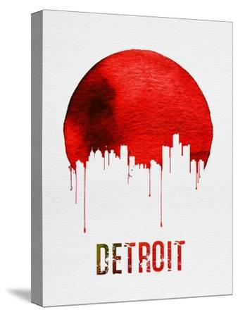Detroit Skyline Red--Stretched Canvas Print