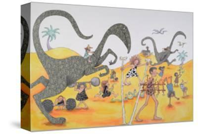 Dinosaurs Family Party-Susie Jenkin Pearce-Stretched Canvas Print