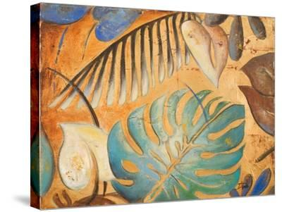 Gold and Aqua Leaves I-Patricia Pinto-Stretched Canvas Print