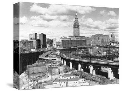 Skyline of Cleveland-Carl McDow-Stretched Canvas Print