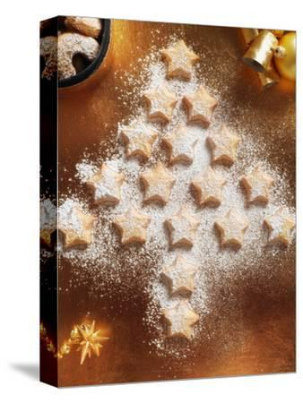 Christmas Cookies Arranged into Tree Shape-Colin Anderson-Stretched Canvas Print