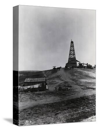 Early Oil Drilling Operation--Stretched Canvas Print