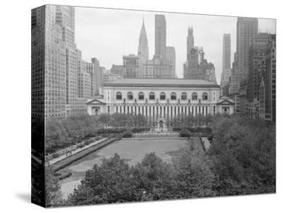 Bryant Park Looking toward Public Library-Philip Gendreau-Stretched Canvas Print