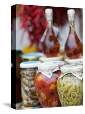 Marinated Vegetables, Positano, Amalfi Coast, Campania, Italy-Walter Bibikow-Stretched Canvas Print