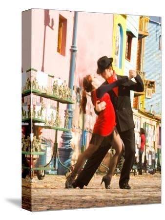 Tango Dancers on Caminito Avenue, La Boca District, Buenos Aires, Argentina-Stuart Westmoreland-Stretched Canvas Print