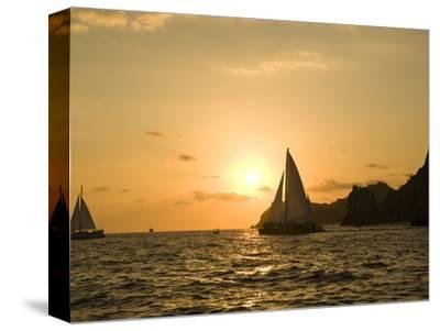 Sailboat at Sunset, Bay of Land's End (El Arco),Cabo San Lucas, Baja, Mexico-Michele Westmorland-Stretched Canvas Print
