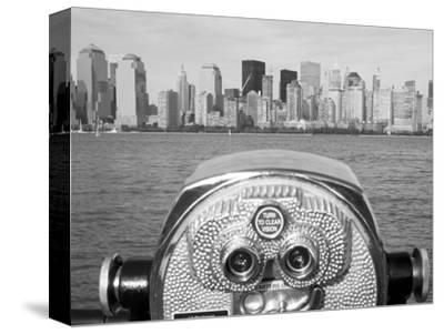 Coin Operated Binoculars Pointed at Manhattan Skyline, Hudson River, Jersey City, New Jersey, Usa-Paul Souders-Stretched Canvas Print