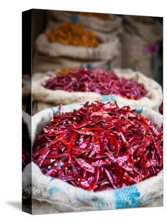 Dried Red Chillies at Spice Market-Huw Jones-Stretched Canvas Print