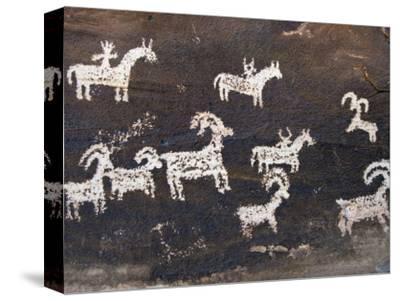 Ute Indian Petroglyphs-John Elk III-Stretched Canvas Print